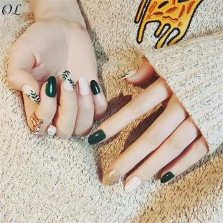 24pcs Round Head Full Nail Tips Tool Artificial Fake Nail Art with Glue Summer Green Leaf Pattern