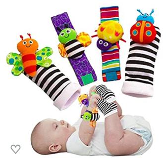 Blige SMTF Cute Animal Soft Baby Socks Toys Wrist Rattles