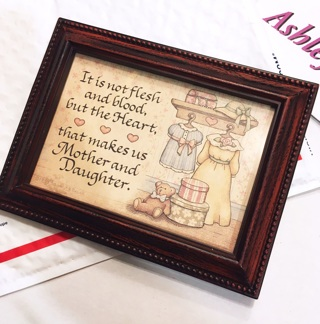 1 Mother Daughter Appreciation Art Picture with Wooden Frame