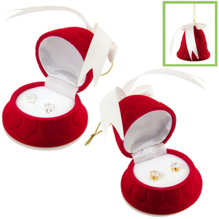 CZ STUDS in BELL ORNAMENT GIFT BOX NEW