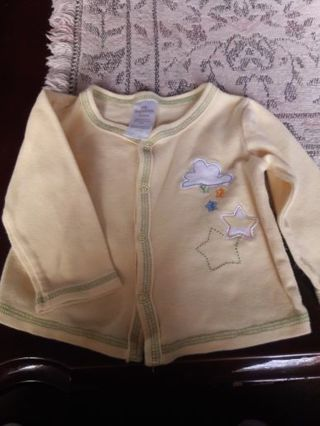 Yellow Cotton Snap Design Jacket. (3-6 M)