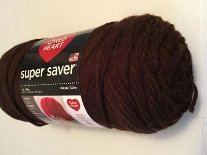 Red heart super saver coffee brown 7 oz skein 364 yds