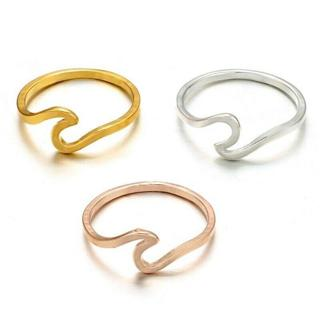 US Size 6-10 Women Wave Shaped Ring Band Wedding Simple Design Ring Jewelry Gift