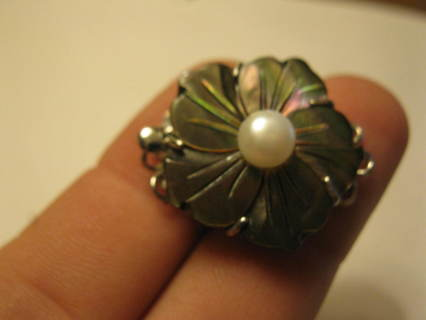 old Pentagon Mother of Pearl Flower & Pearl Clasp
