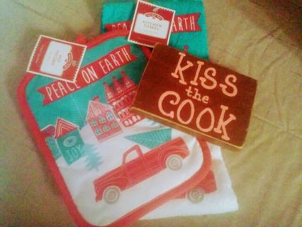 KISS the COOK Plaque with Kitchen Christmas Towel and Pot Holder and an extra for Christmas.
