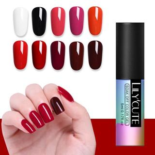 LILYCUTE Red Yellow Purple UV LED Pure Color Gel Polish Long Lasting Red Soak Off UV Gel Lacquer N