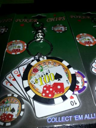 Poker Chip Key Chain ONLY BLACK ONLY 4 LEFT NO GIN