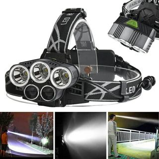 40000LM 5x XML T6 LED Rechargeable Headlamp Headlight Camping Torch+ USB Cable