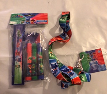 "BNIP ""PJ MASKS"" Set: 5 Pieces Stationery! Ruler/Markers/Note pad AND An 18"" Lanyard"