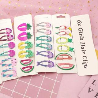 6x Girls Baby Hair Clips Fruit Snaps Hairpin Toddler Kids Hair Bow Accessories