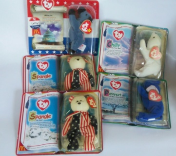 Ty Beanie Babies LOT of 5 *FREE SHIPPING Only* Peanut, Spangle, Chilly, Lefty In Package