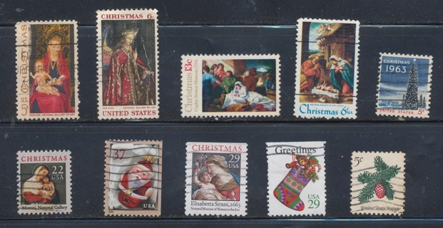 United States:  (10) Christmas Stamps, All Different, Used, In Excellent Condition - CHS-1042a