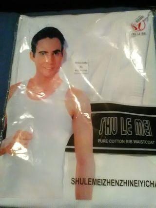 Men's Sleeveless White T-shirt Size XL