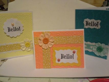 Set of 3 handmade cards and envelopes.