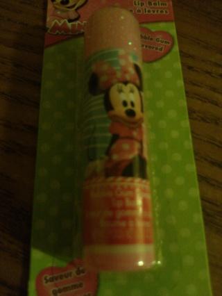 minnie mouse bubble gum flavored & sparkly lip balm