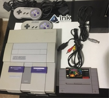 Super Nintendo console 2 controller 1 game
