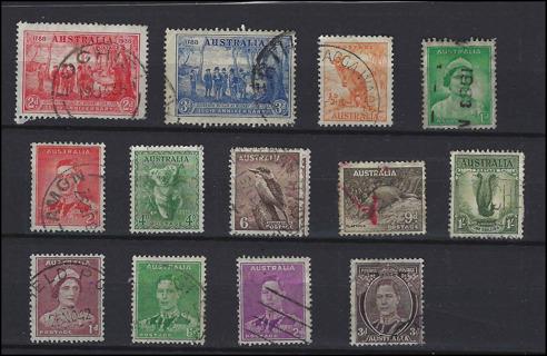 Vintage Australia stamps with Scott IDS, used/VF, est CV $6.50