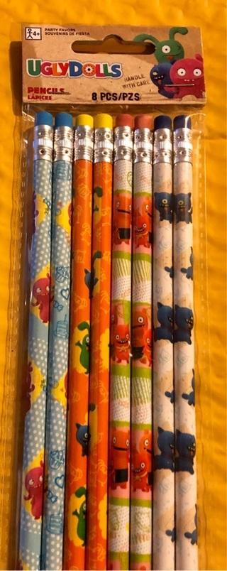 BNIP 8 Wood #2 UGLY DOLLS Pencils! Eraser Gr8 For Class/Tests/Illustration/Class/Crafts
