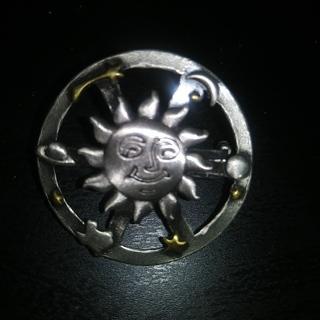 Sun, Moon Star Pewter Pin- Texas