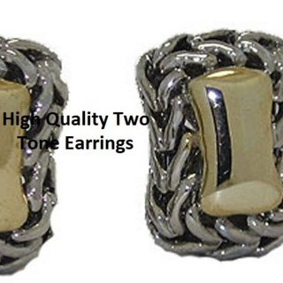 Earring two 2 tone omega back cable NWT