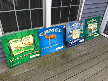 Qty of 5 Older Camel Cigarettes Tobacco Advertising Signs 23 X 24 Inches Double Sided