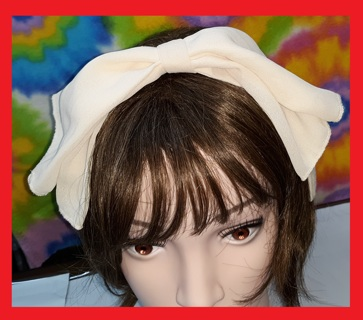 Sia inspired BIG Floppy Hair Bow Headband! Cream Color