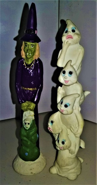 """2 small (7"""" tall) ceramic Halloween decorations - VG collectible condition"""