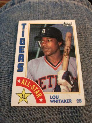 Baseball Card - Lou Whitaker 1984