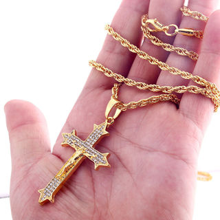 Gold Plated Crystal Jesus Cross Pendant Necklace