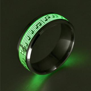 Stainless Steel Luminous Glow In The Dark Music Note Ring Noctilucent US 6-12
