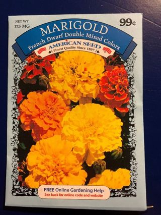 MARIGOLD SEEDS-FRENCH DWARF DOUBLE MIXED COLORS-175 MG~LAST ONE!