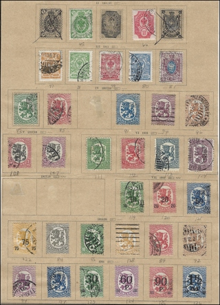 Early (1901-21) Finland stamps (33) on Scott Album page