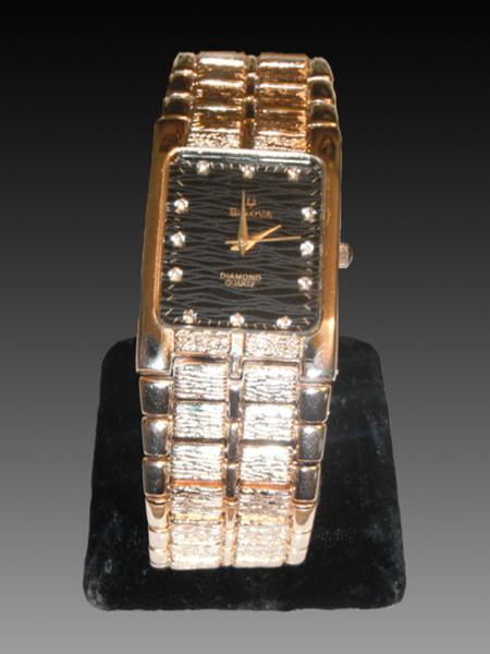 Free Bulova Diamond Quartz 3063 5020 18k Gold Watch Swiss