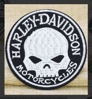 1 IRON ON PATCH HARLEY DAVIDSON SKULL ROCK motorcycle jacket vest embroidered