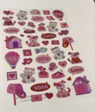 VALENTINES VINYL STICKERS 2 SHEETS CATS DOGS HEARTS LOVE XOXO