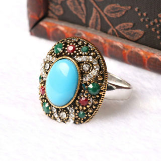 ♥‿♥ CB ♥‿♥ Turkish Style Luxury Inlaid blue Crystal Gold-plated Jewelry Lady's Ring 7-10