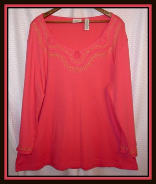 NWOT Salmon Pink Top Shirt Blouse Plus Size XL (18) Sweet Neckline & Sleeve Detail, Brand NEW!