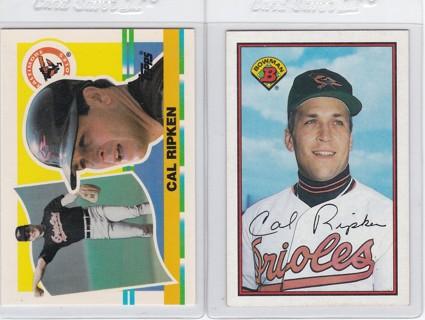 Cal Ripken Jr. 2 Card Lot - 1990 Topps Big Card# 327 & 1989 Bowman Card# 9 - Nice BIG CARDS !!!