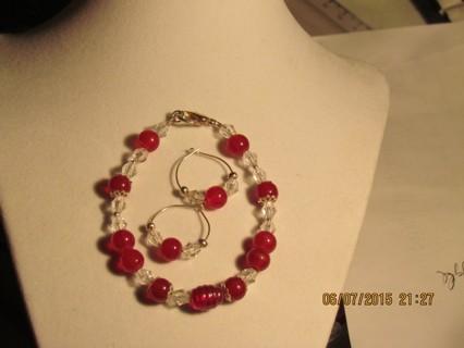 Red & Clear Bracelet & Earring Set