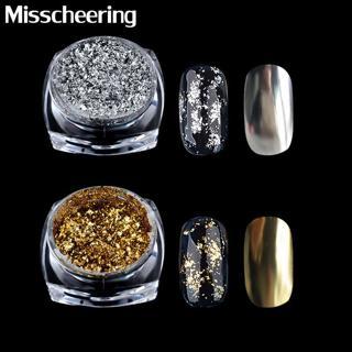 1 Box Gold Silver Glitter Aluminum Flakes Magic Mirror Effect Powders Sequins Nail Gel Polish Chro