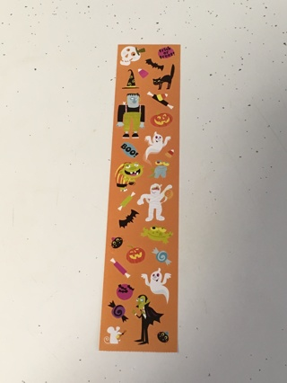 Foot long sheet of Halloween Stickers with Ghosts and Monsters