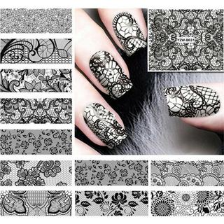 24 Sheets Black Lace Nail Art Stickers Decal Water Transfer Manicure Decoration