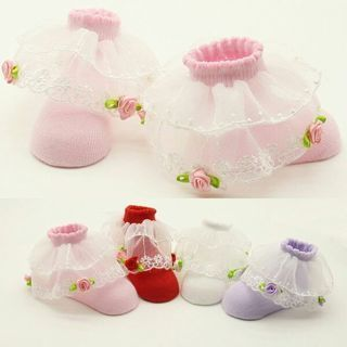 Cute Newborn Baby Girl Boy Anti-slip Cotton Lace Socks Slipper Shoes Boots 0-12M