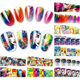 12PCS beauty eyes water transfer nail art sticker decals nails decoration tools