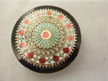Vintage Decorator Tin -Black Tin with Designs