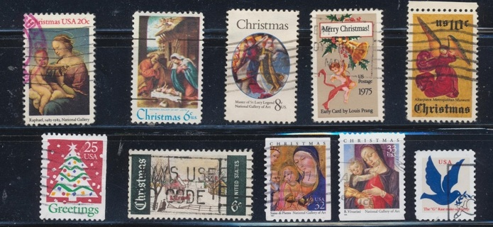 United States:  (10) Christmas Stamps, All Different, Used, In Excellent Condition - CHS-1039a