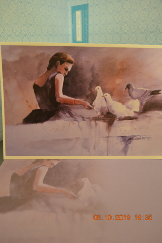 ****BEAUTIFUL LADY FEEDING THE BIRDS BLANK CARD W/MATCHING ENVELOPE***FREE SHIPPING