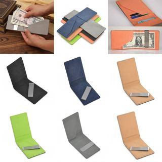 Men Leather Silver Money Clip Bifold Slim Wallet ID Credit Card Holder Bag Purse