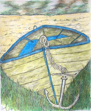 """BEACHED BOAT - 5 x 7"""" Art Card by artist Nina Struthers - GIN ONLY"""