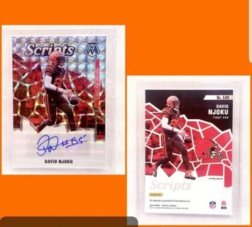 1 card = Cleveland Browns > authentic autograph > DAVID NJOKU > 2020 silver prizm mosaic scripts